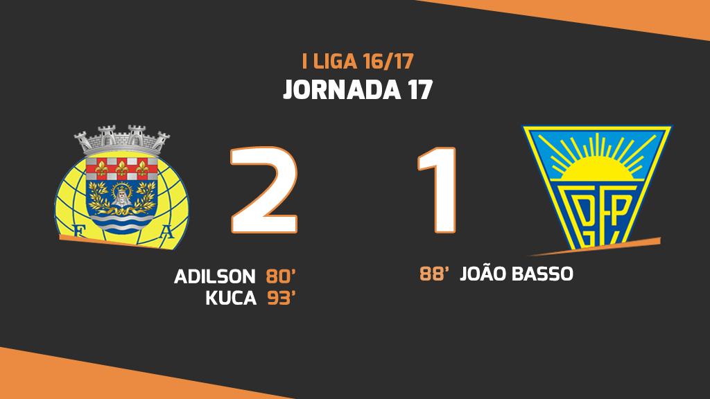 Liga NOS (17ªJ): Resumo FC Arouca 2-1 Estoril Praia