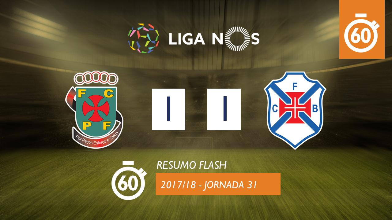 I Liga (31ªJ): Resumo Flash FC P.Ferreira 1-1 Os Belenenses