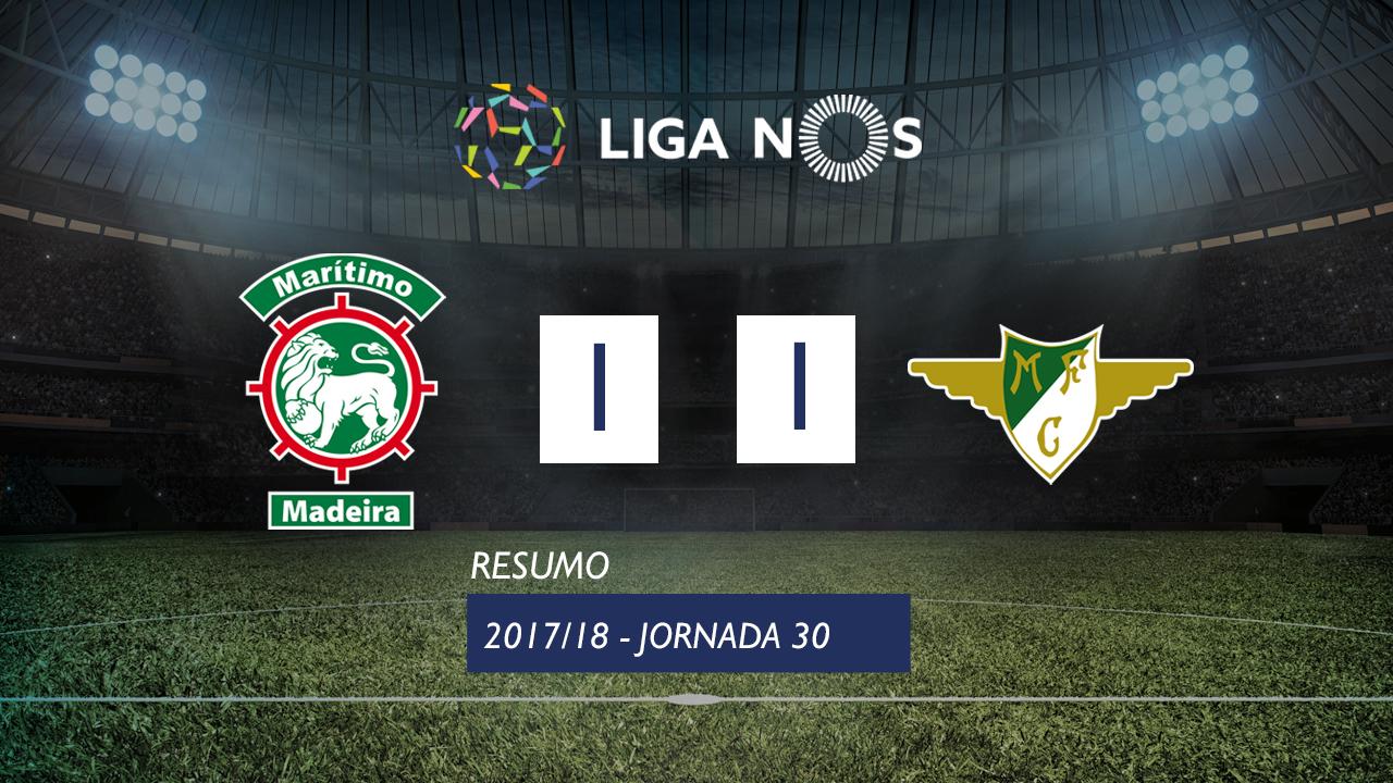 Liga NOS (30ªJ): Resumo Marítimo M. 1-1 Moreirense FC