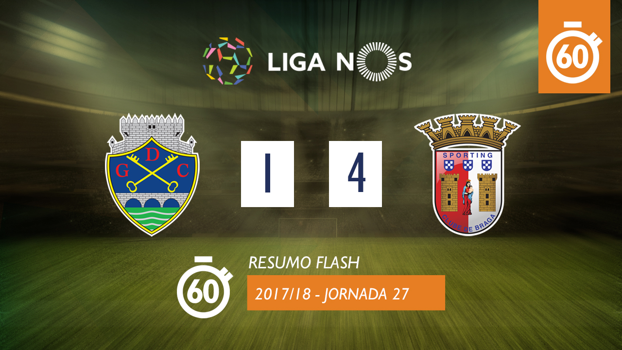 I Liga (27ªJ): Resumo Flash GD Chaves 1-4 SC Braga