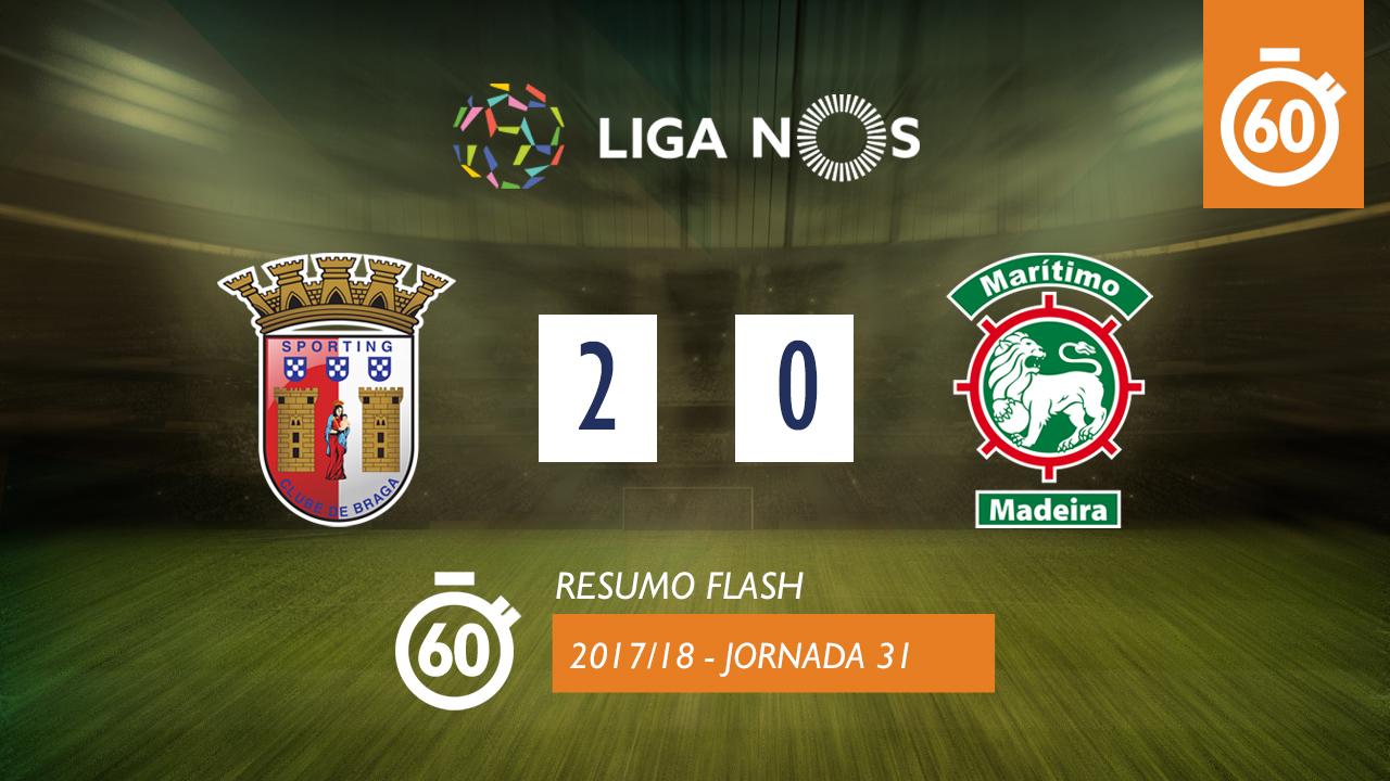 I Liga (31ªJ): Resumo Flash SC Braga 2-0 Marítimo M.