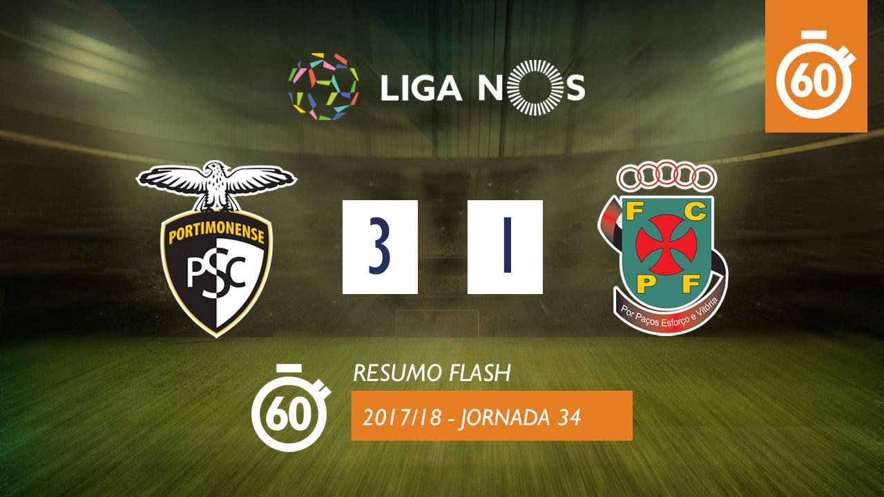 I Liga (34ªJ): Resumo Flash Portimonense 3-1 FC P.Ferreira