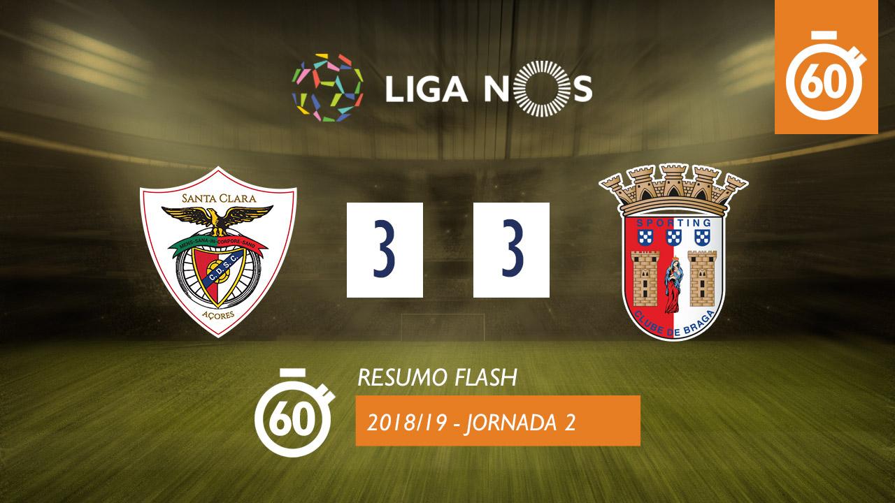 I Liga (2ªJ): Resumo Flash Sta. Clara 3-3 SC Braga