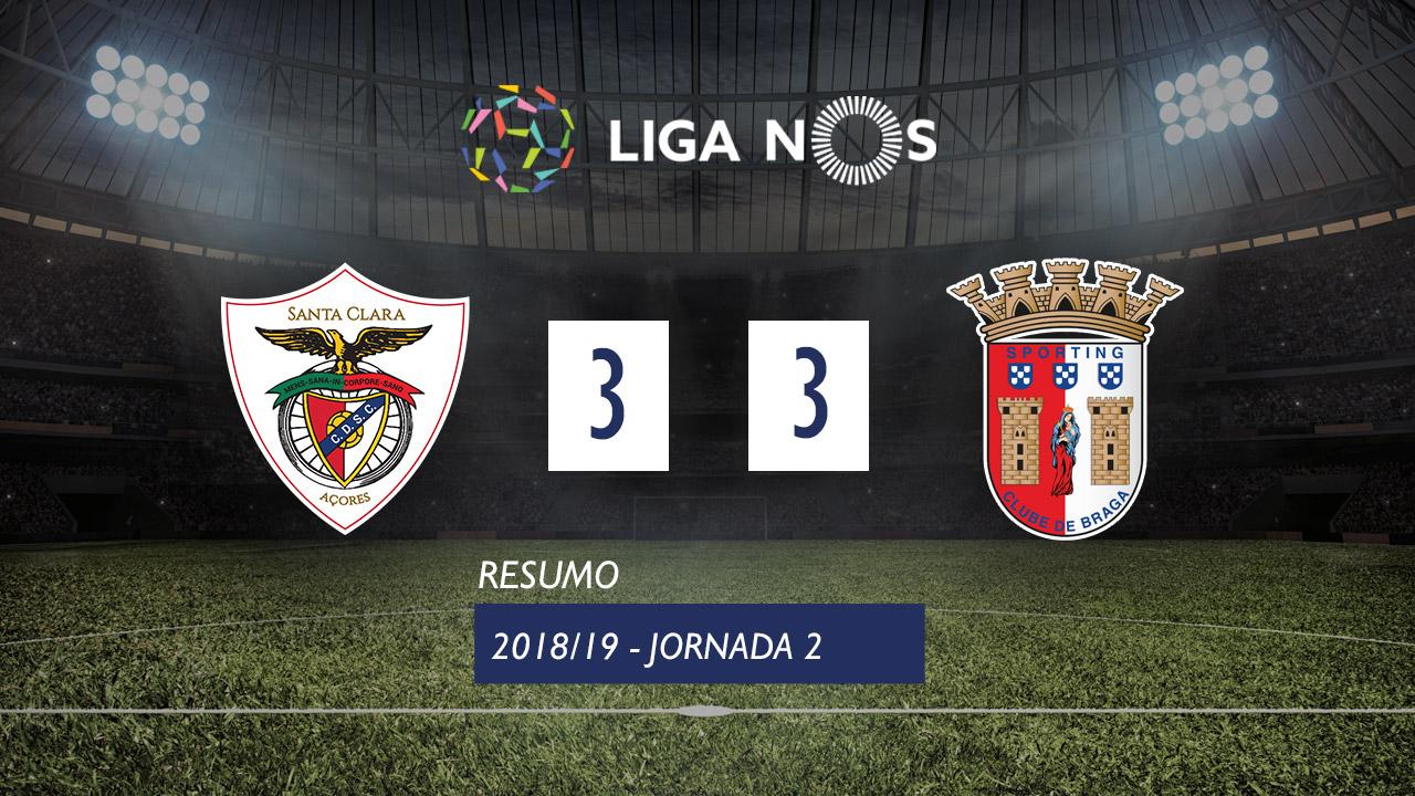 I Liga (2ªJ): Resumo Sta. Clara 3-3 SC Braga