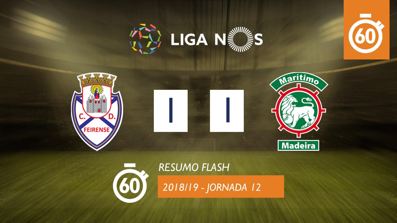 I Liga (12ªJ): Resumo Flash CD Feirense 1-1 Marítimo M.