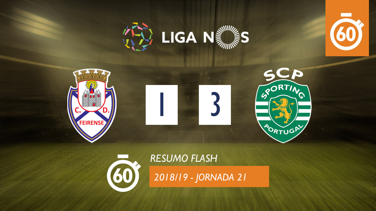 Liga NOS (21ªJ): Resumo Flash CD Feirense 1-3 Sporting CP