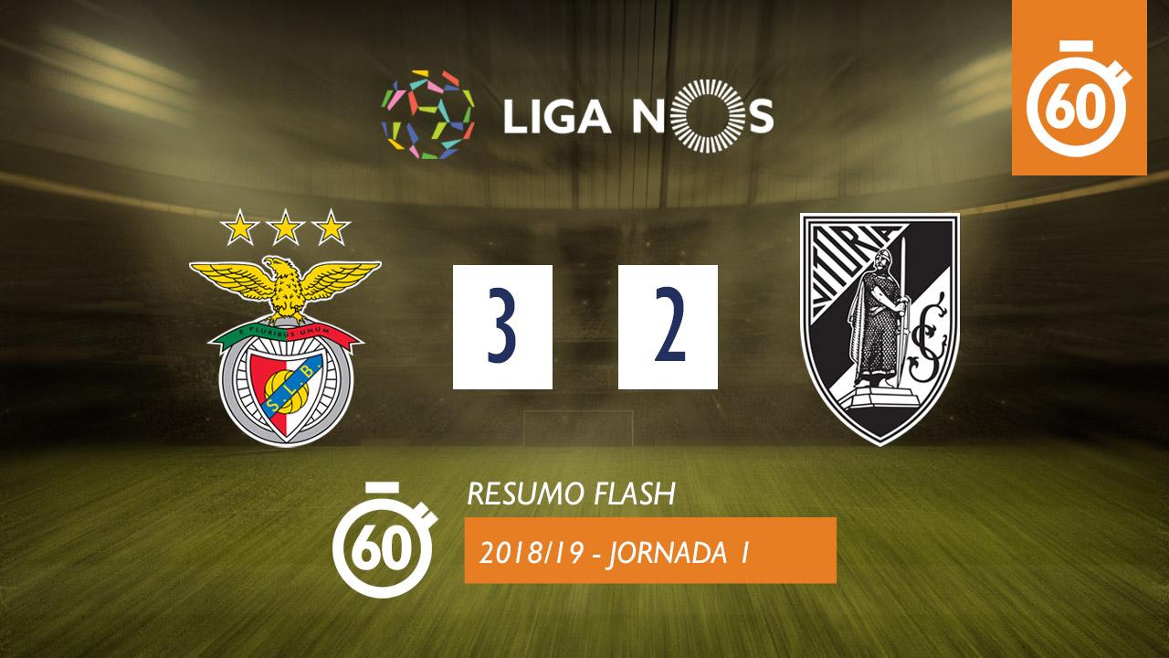 I Liga (1ªJ): Resumo Flash SL Benfica 3-2 Vitória SC