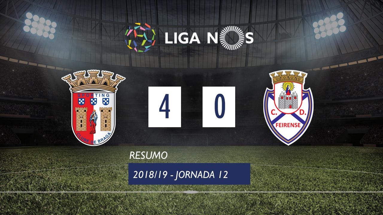 I Liga (13ªJ): Resumo SC Braga 4-0 CD Feirense