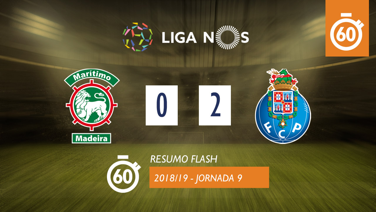 Liga NOS (9ªJ): Resumo Flash Marítimo M. 0-2 FC Porto