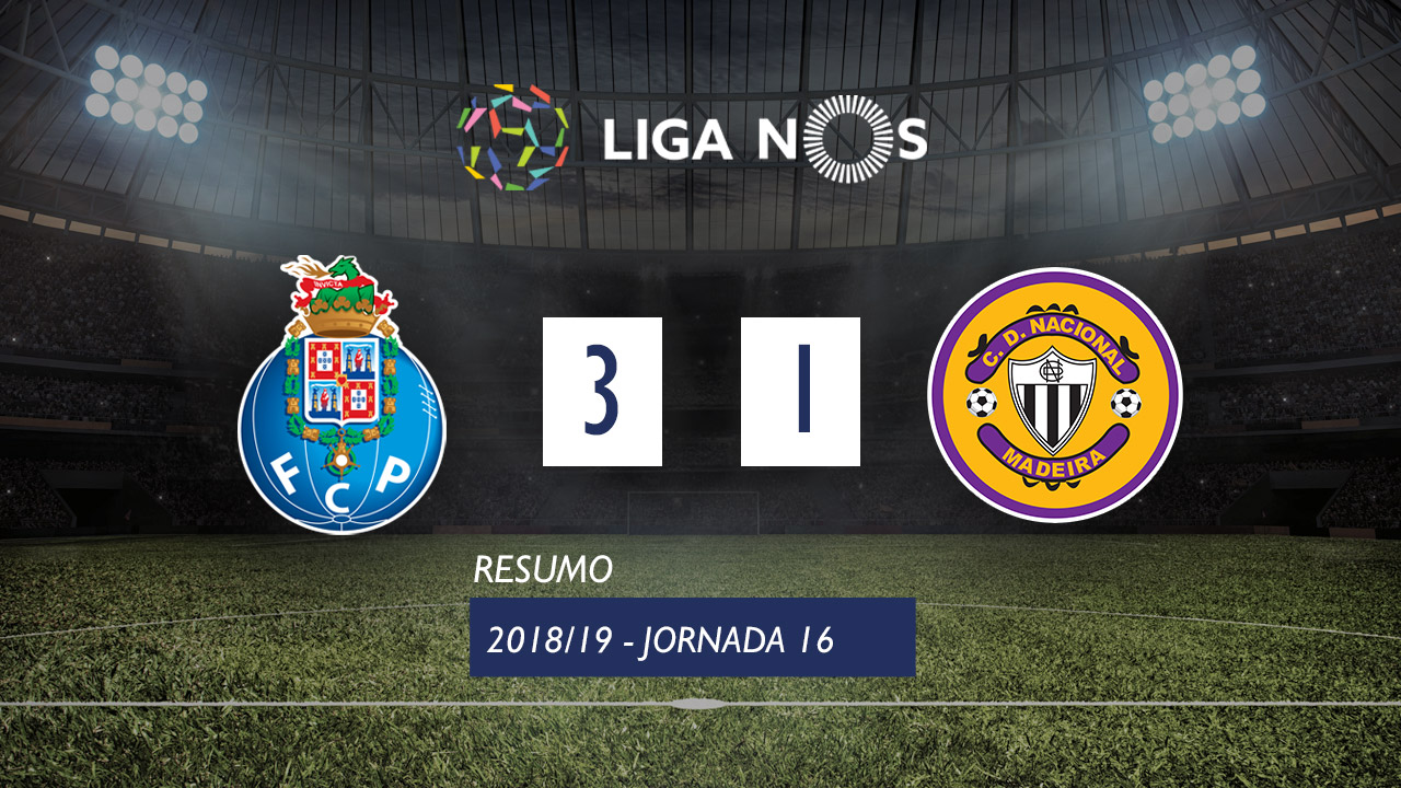 Liga NOS (16ªJ): Resumo FC Porto 3-1 CD Nacional