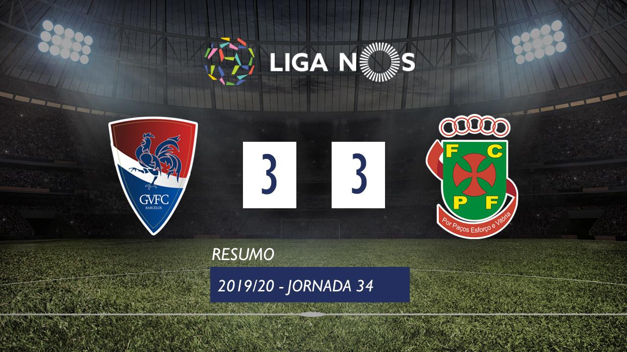 I Liga (34ªJ): Resumo Gil Vicente FC 3-3 FC P.Ferreira