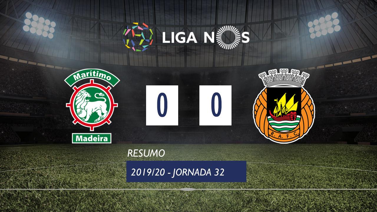 Liga NOS (32ªJ): Resumo Marítimo M. 0-0 Rio Ave FC