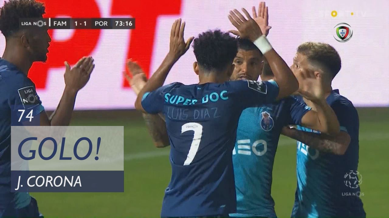 GOLO! FC Porto, J. Corona aos 74', FC Famalicão 1-1 FC Porto