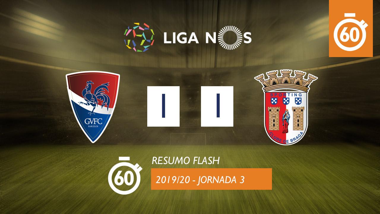 I Liga (3ªJ): Resumo Flash Gil Vicente FC 1-1 SC Braga