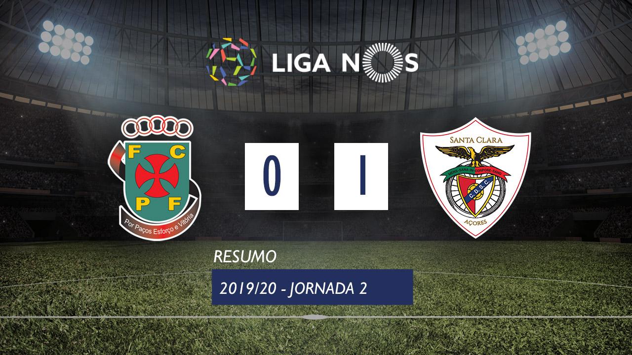 I Liga (2ªJ): Resumo FC P.Ferreira 0-1 Santa Clara