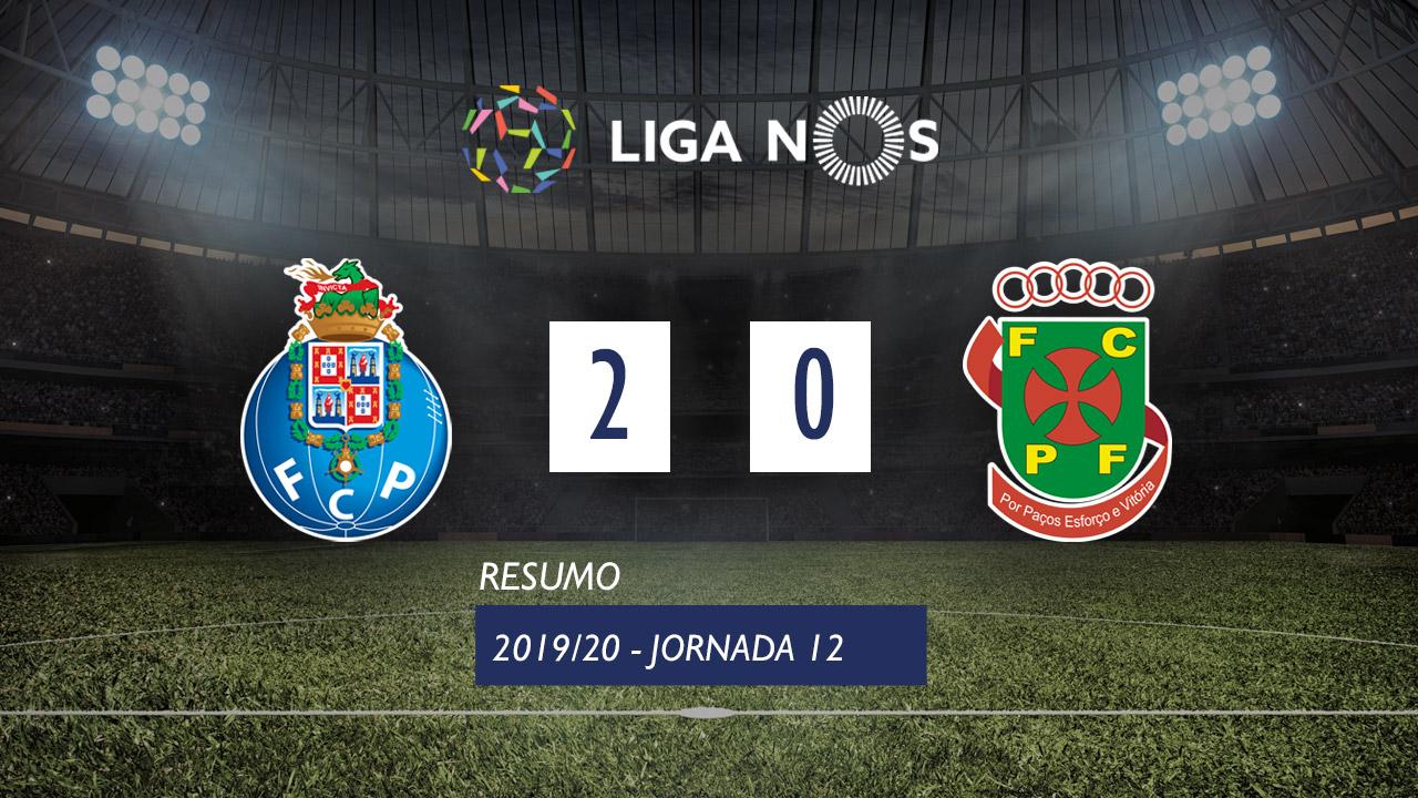 Liga NOS (12ªJ): Resumo FC Porto 2-0 FC P.Ferreira