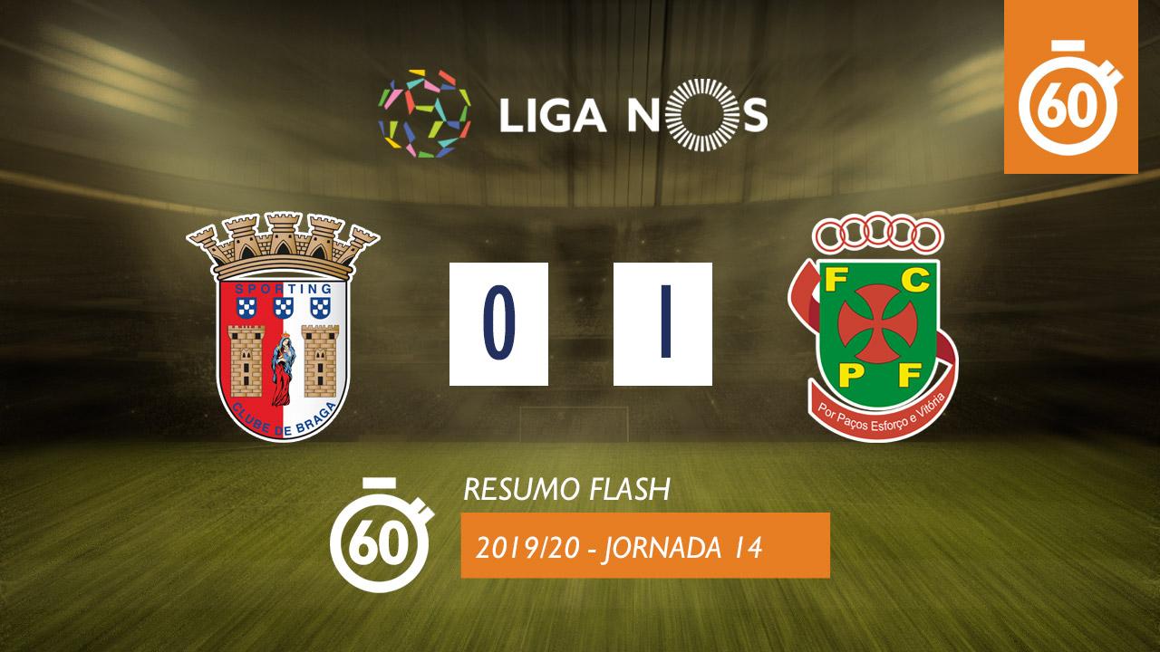 I Liga (14ªJ): Resumo Flash SC Braga 0-1 FC P.Ferreira