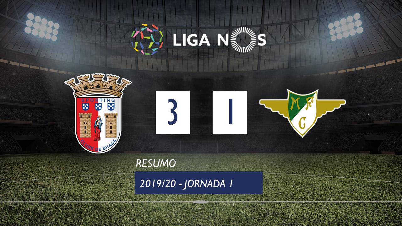 Liga NOS (1ªJ): Resumo SC Braga 3-1 Moreirense FC