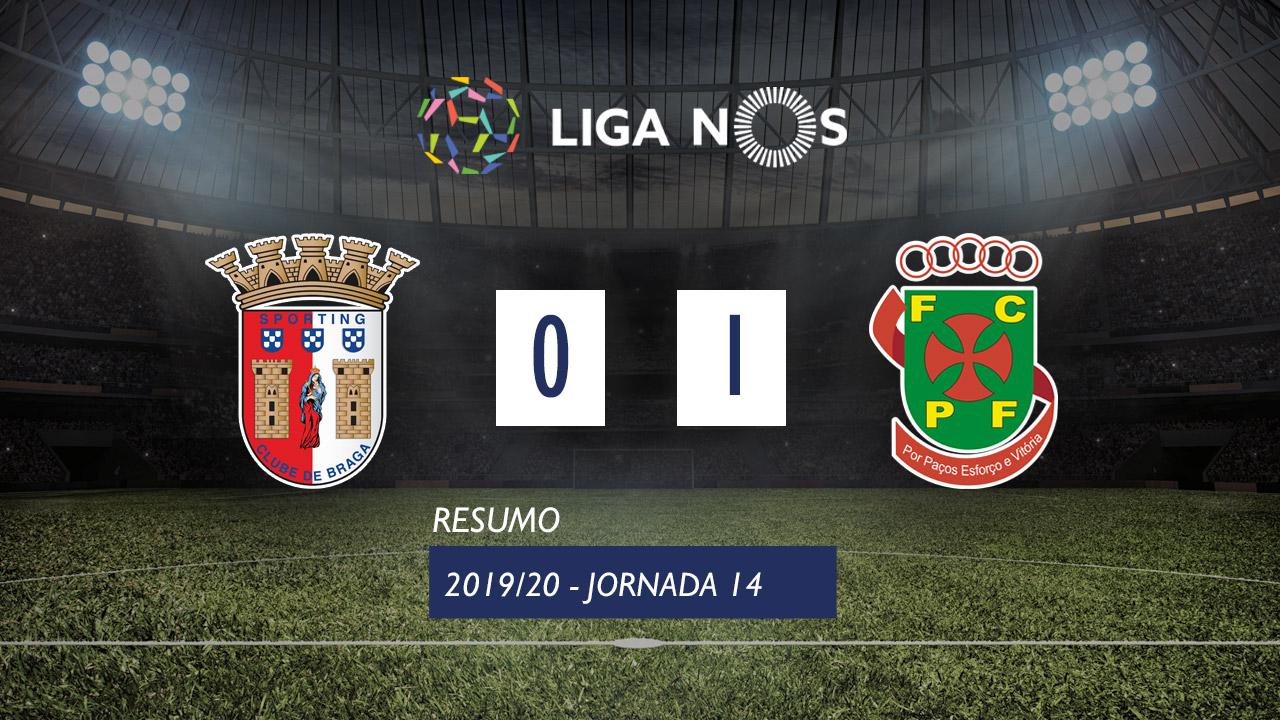I Liga (14ªJ): Resumo SC Braga 0-1 FC P.Ferreira
