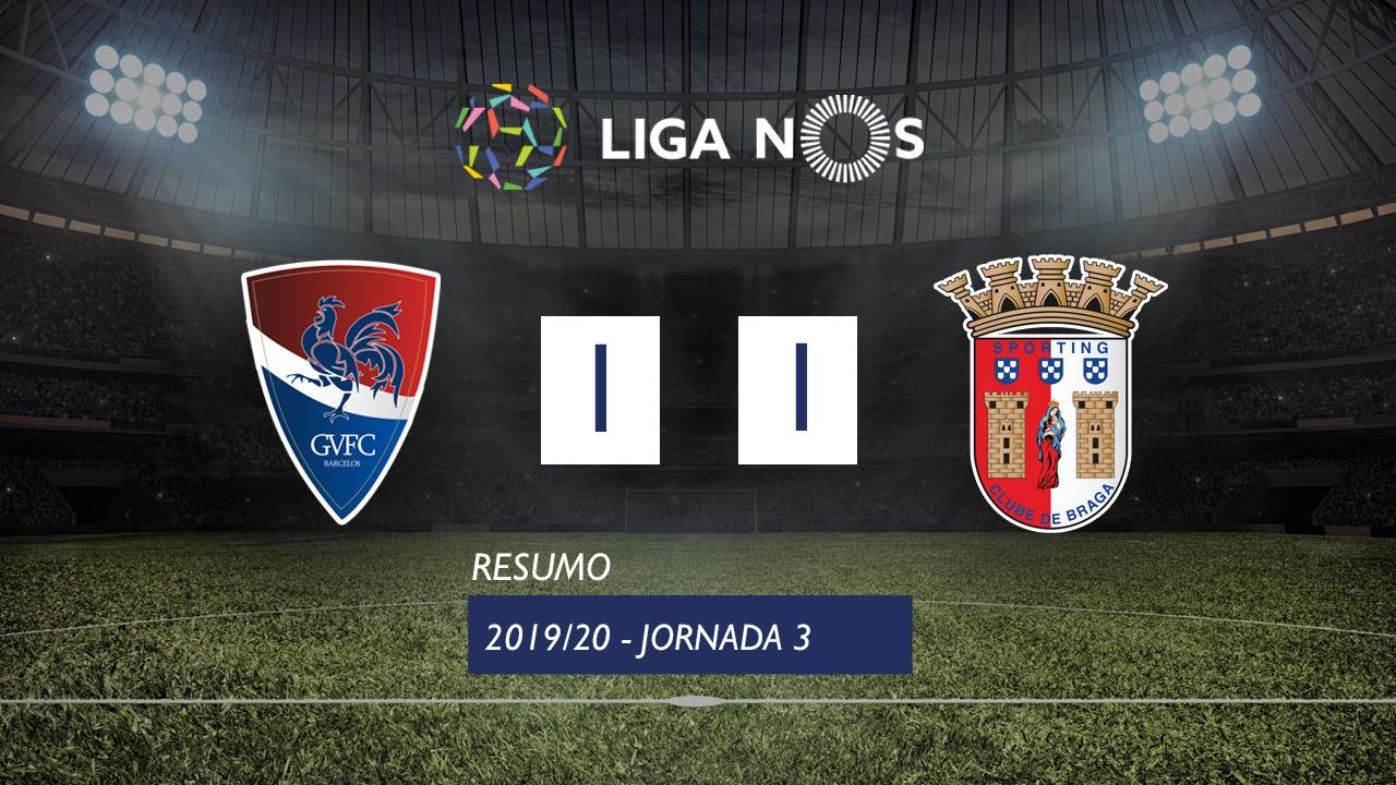 Liga NOS (3ªJ): Resumo Gil Vicente FC 1-1 SC Braga