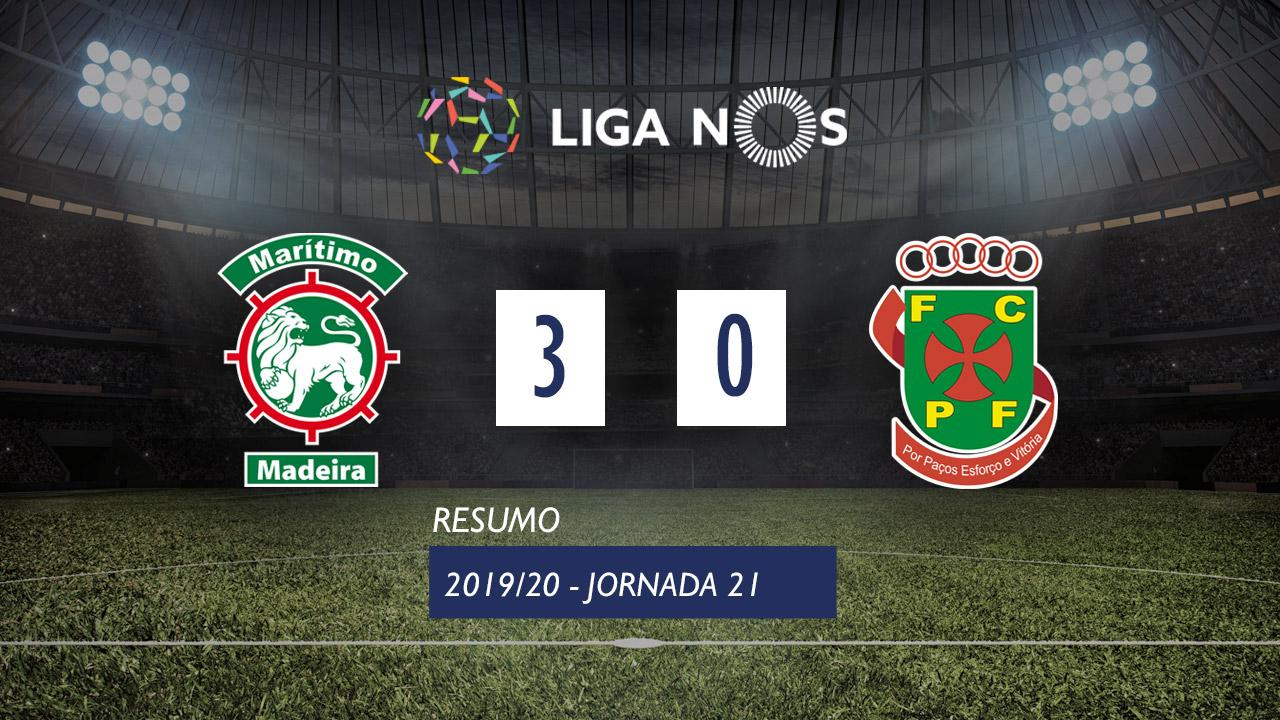 Liga NOS (21ªJ): Resumo Marítimo M. 3-0 FC P.Ferreira