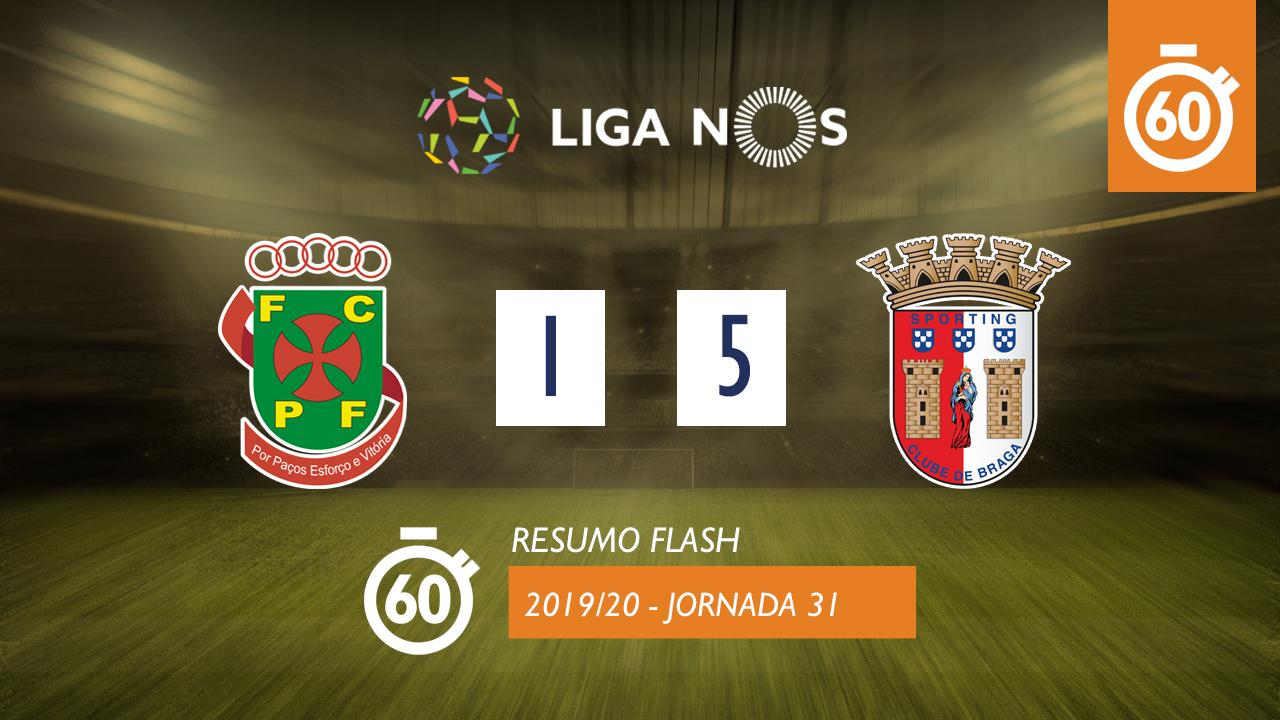 I Liga (31ªJ): Resumo Flash FC P.Ferreira 1-5 SC Braga