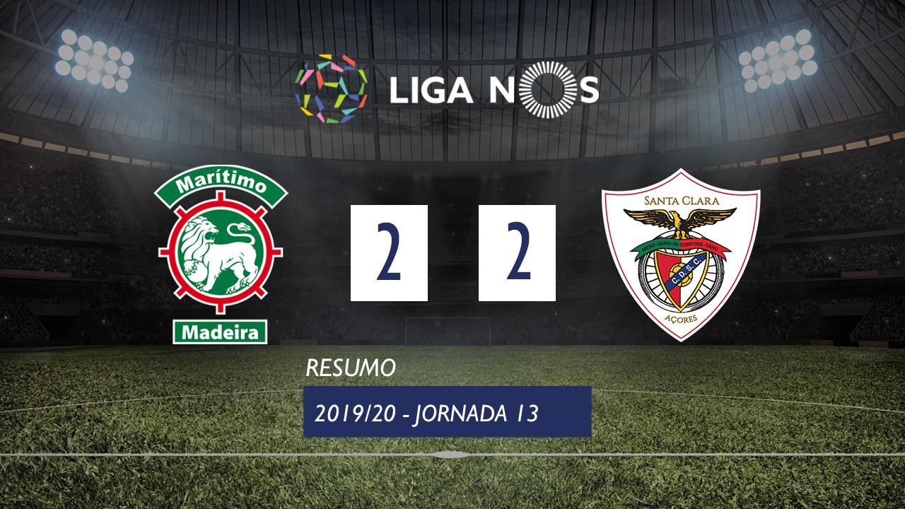 Liga NOS (13ªJ): Resumo Marítimo M. 2-2 Santa Clara