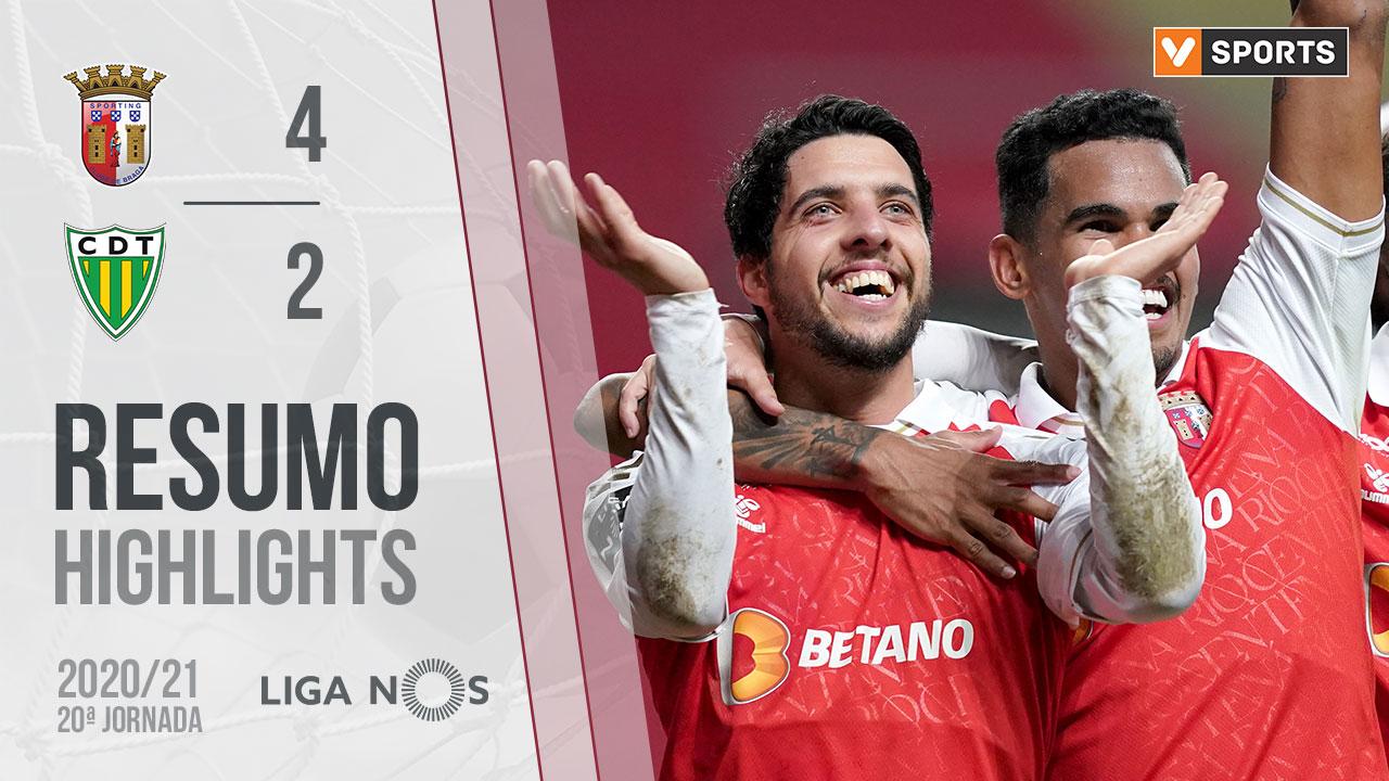 Liga NOS (20ªJ): Resumo SC Braga 4-2 CD Tondela