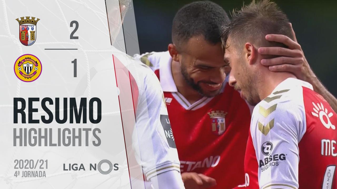 Liga NOS (4ªJ): Resumo SC Braga 2-1 CD Nacional