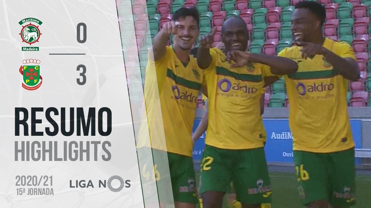 Liga NOS (15ªJ): Resumo Marítimo M. 0-3 FC P.Ferreira