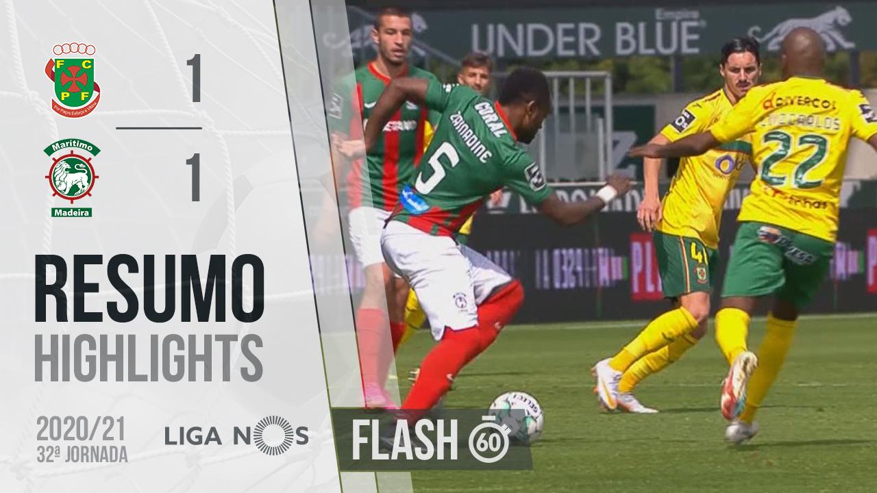I Liga (32ªJ): Resumo Flash FC P.Ferreira 1-1 Marítimo M.