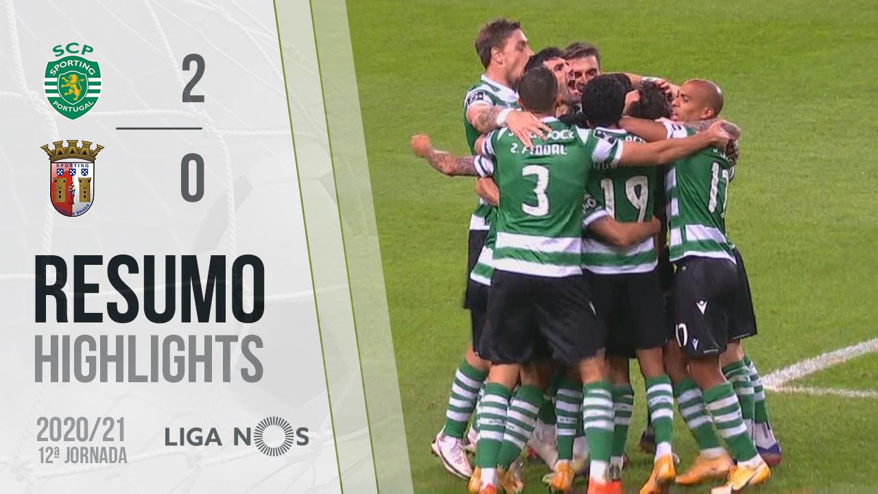 Liga NOS (12ªJ): Resumo Sporting CP 2-0 SC Braga