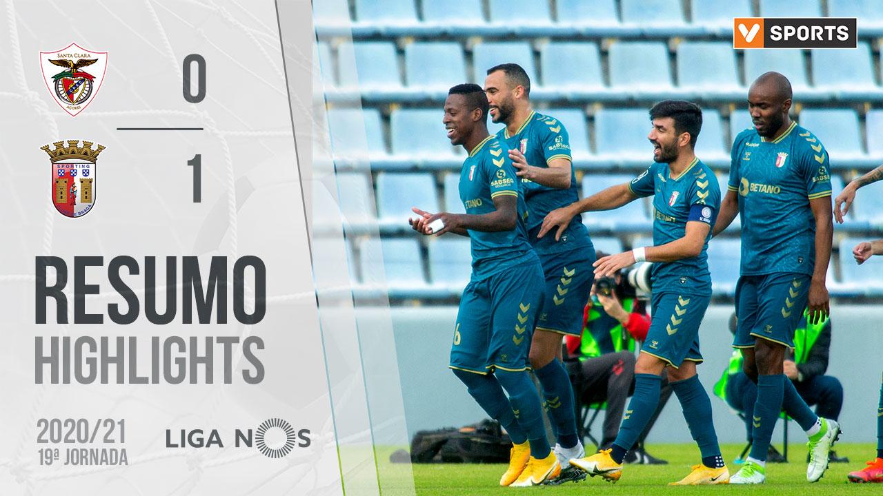 Liga NOS (19ªJ): Resumo Santa Clara 0-1 SC Braga