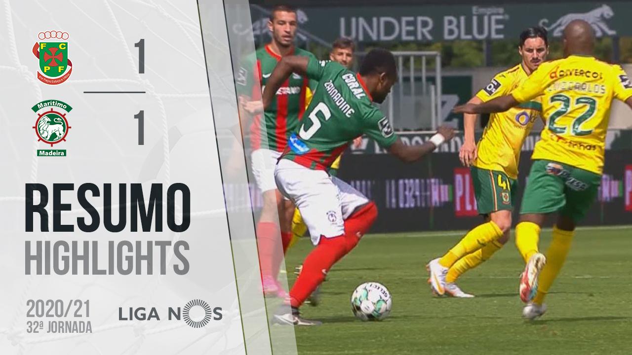 I Liga (32ªJ): Resumo FC P.Ferreira 1-1 Marítimo M.