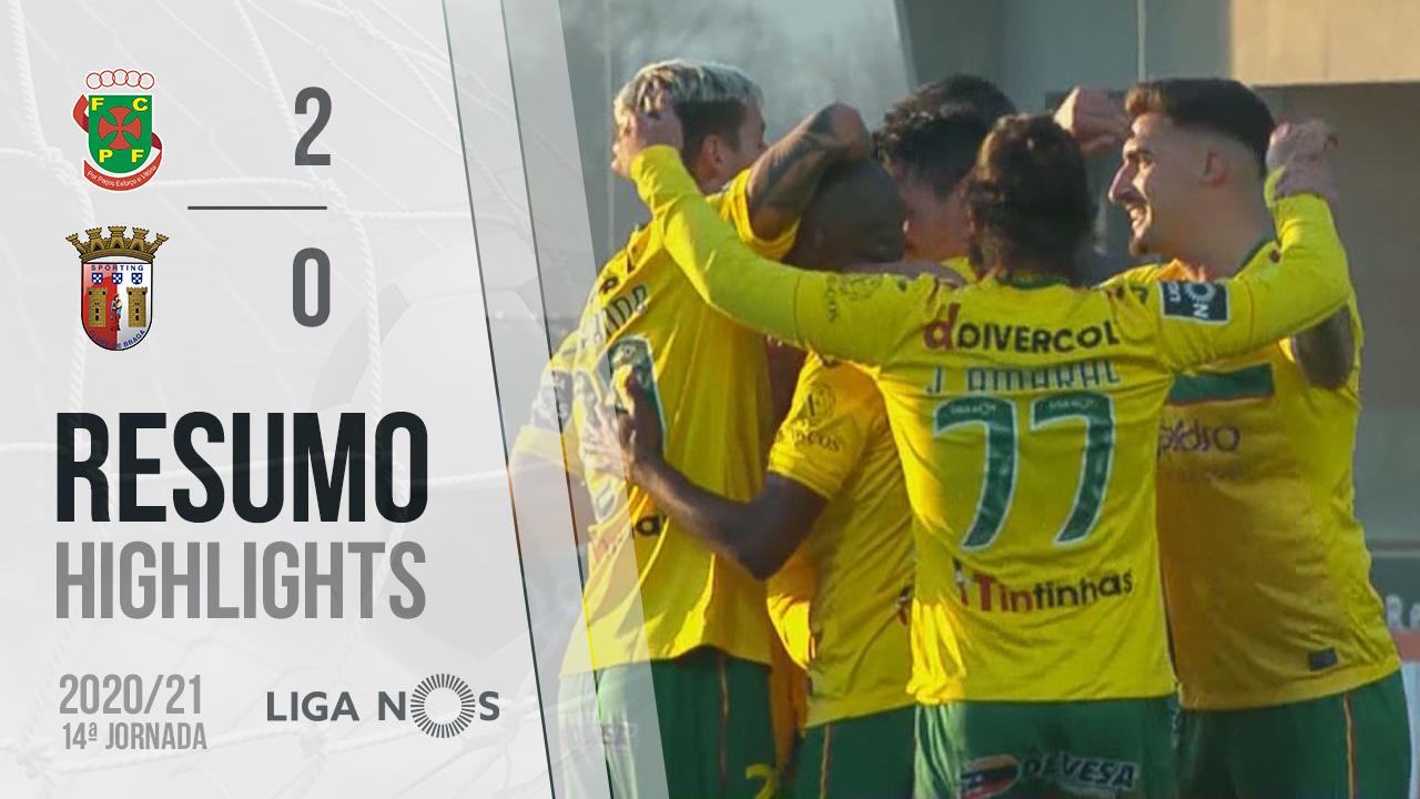 Liga NOS (14ªJ): Resumo FC P.Ferreira 2-0 SC Braga