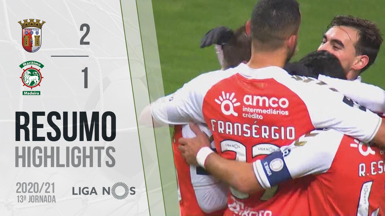 Liga NOS (13ªJ): Resumo SC Braga 2-1 Marítimo M.