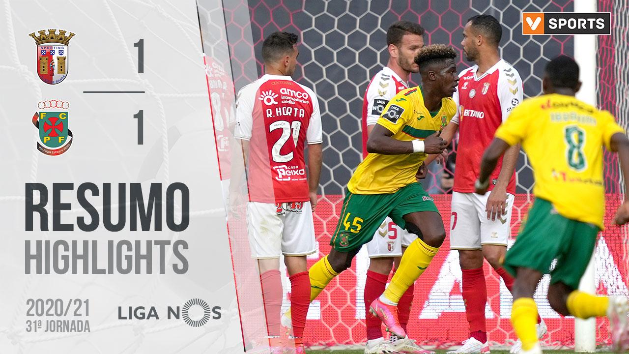 Liga NOS (31ªJ): Resumo SC Braga 1-1 FC P.Ferreira