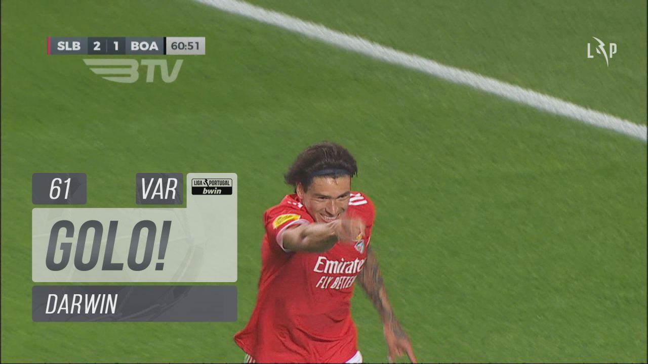 GOLO! SL Benfica, Darwin aos 61', SL Benfica 3-1 B...