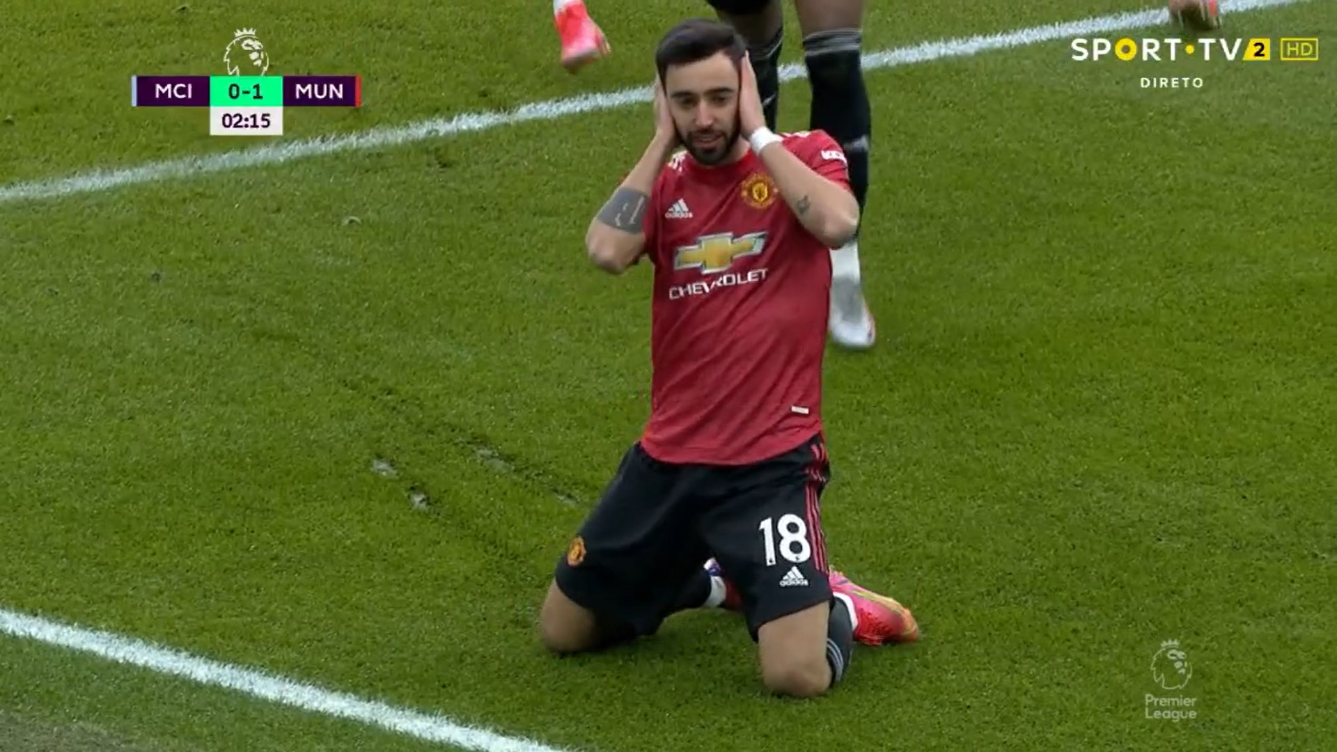 GOLO! Man. United, Bruno Fernandes aos 2', Man. City 0-1 Man. United