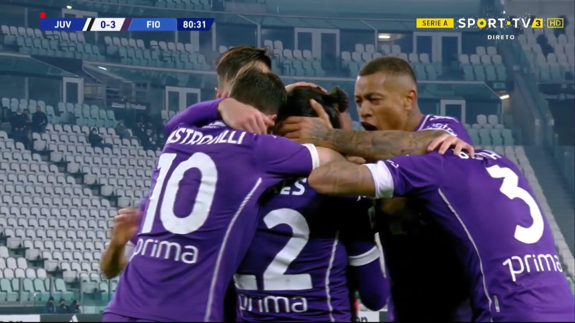 Serie A (14ª Jornada): Resumo Juventus 0-3 Fiorentina