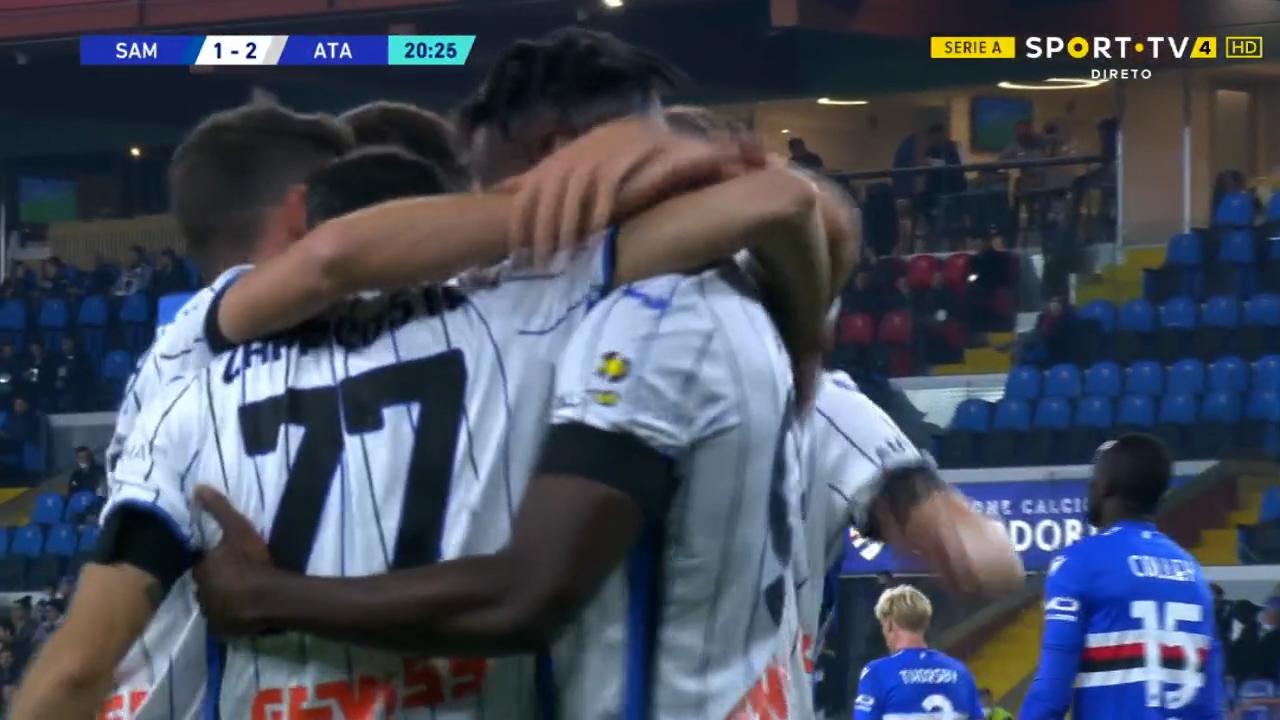 GOLO! Atalanta, D. Zapata aos 21', Sampdoria 2-1 Atalanta