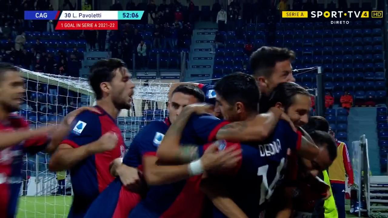 GOLO! Cagliari, L. Pavoletti aos 52', Cagliari 1-0 Roma