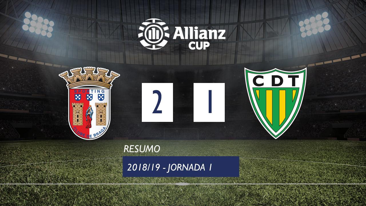 Allianz Cup (Fase 3 - Jornada 1): Resumo SC Braga 2-1 CD Tondela