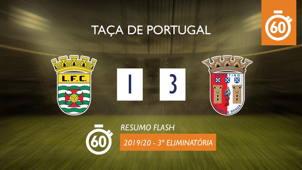 Taça de Portugal (3ª Eliminatória): Resumo Flash Leça 1-3 SC Braga