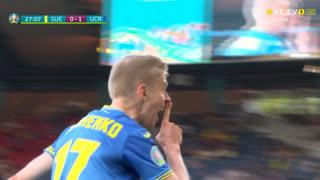 GOLO! Ucrânia, O. Zinchenko aos 27', Suécia 0-1 Ucrânia