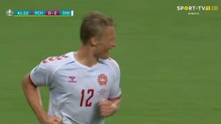 GOLO! Dinamarca, K. Dolberg aos 42', República Checa 0-2 Dinamarca