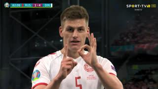 GOLO! Dinamarca, J. Mæhle aos 82', Rússia 1-4 Dinamarca