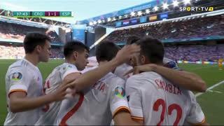 GOLO! Espanha, Pablo Sarabia aos 38', Croácia 1-1 Espanha