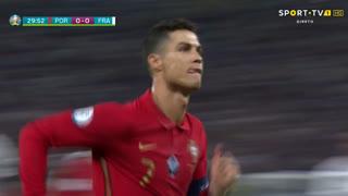 GOLO! Portugal, Cristiano Ronaldo aos 31', Portugal 1-0 França