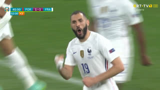 GOLO! França, Benzema aos 45'+2', Portugal 1-1 França